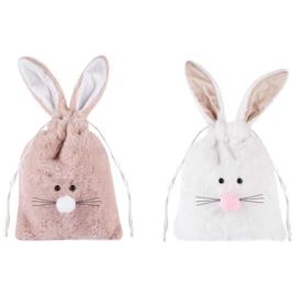 Stoffen zakje met Bunny oren roze