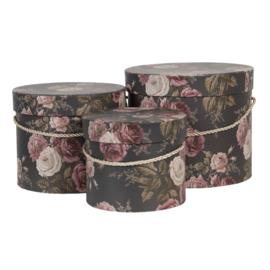 Hoedendoos set van 3 Romantic Roses