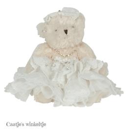 Decoratie beer met jurkje wit 20 cm