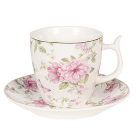 Romantische kop en schotel rozen wit