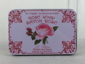 Blikje met 6 gastenzeepjes rozen