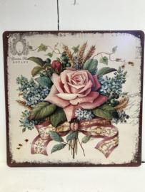 Tekstbord / wandplaat roos