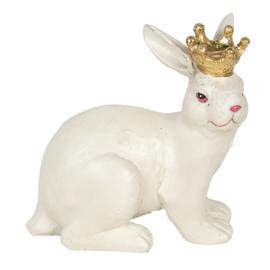Decoratie konijn met gouden kroon