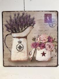 Tekstbord / wandplaat lavendel en rozen