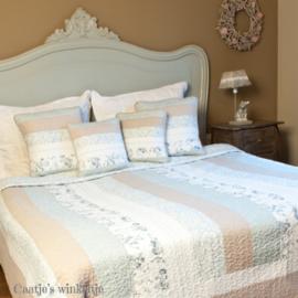 Bedsprei beige/blauw Q139 180*260
