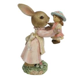 Decoratie meisjes konijn met popje