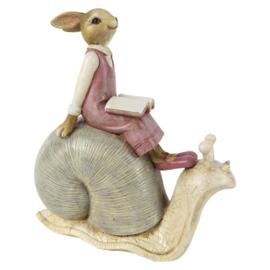Decoratie meisjes konijn zittend op slak