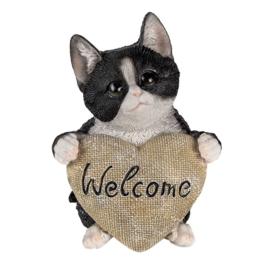 Decoratie kat Welcome hart