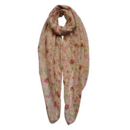Sjaal met roosjes kaki