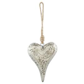 Hanger hart antiek zilver 10*14