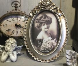Ovale fotolijst antiek zilver roos 10*15