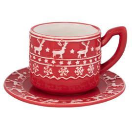 Kerstservies Kop en schotel rood