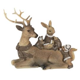 Decoratie liggend rendier met div dieren