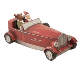 Kerstdecoratie kerstman en rendier in auto 18*9*9