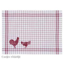 Stoffen placemats kippen rood (6)