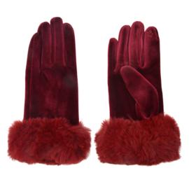 Set handschoenen met bontje bordeaux