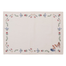 Stoffen placemats (6) Chicken and Rooster