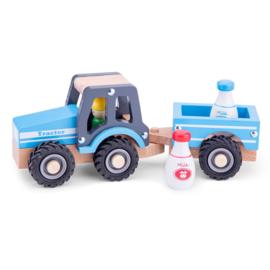 Tractor met aanhanger melkbussen blauw