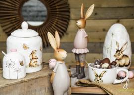 Decoratie konijnen stel hij/zij 35cm