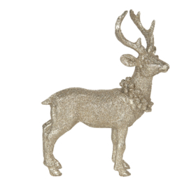 Decoratie hert krans goud/glitter