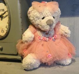 Decoratie beertje met jurkje roze 25 cm