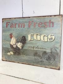 Tekstbord / wandplaat Farm Fresh Eggs