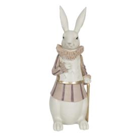 Decoratie konijn met wandelstok 11 x 10 x 27