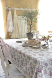 Tafelkleed rozen en kant extra lang 140*360