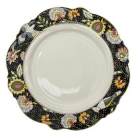 Diner bord bloemen zwart/wit/goud