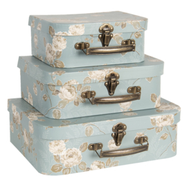 Decoratie kofferset (3) blauw