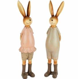 Decoratie konijnen stel hij/zij