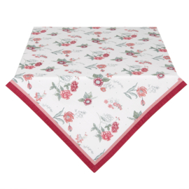 Tafelkleed bloemen roze/rood 100*100