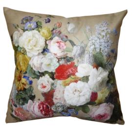 Kussenhoes met bloemen beige 45*45