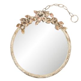 Brocante ronde spiegel met bloemen 38*5*44