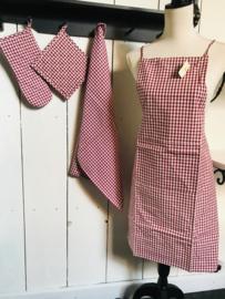 Textielpakket set van 4 rood geruit