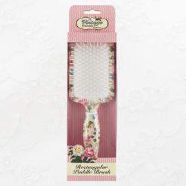 Vintage rechthoekige haarborstel roosjes