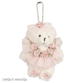 Decoratie beertje met jurkje roze 11 cm