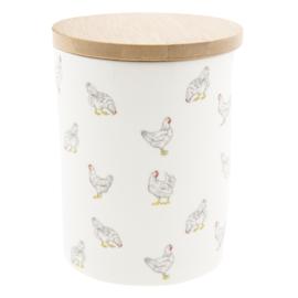 Voorraadpot met kippen 10*13