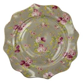 Diner bord roosjes groen