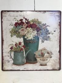 Tekstbord / wandplaat bloemenvaas