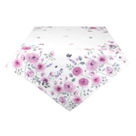 Tafelkleed rozen en vlinders roze 100*100