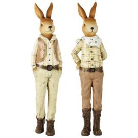 Set van 2 decoratie konijnen hij/zij (L)