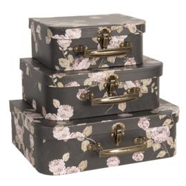 Decoratie kofferset (3) zwart