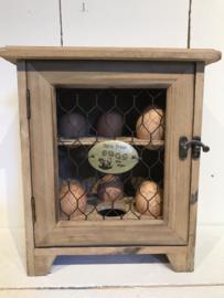 Houten eierkastje gaas Farm Fresh Eggs