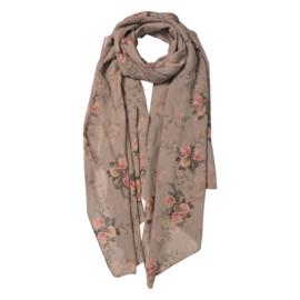 Sjaal met romantische rozenprint beige