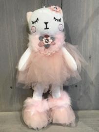 Pluche decoratie kat roze 30 cm