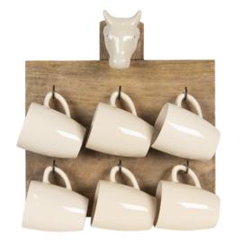 Houten plank met 6 mokken koe