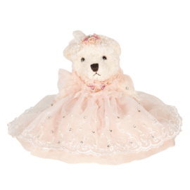 Decoratie beer met jurkje roze 25 cm