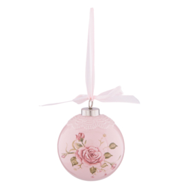 Kerstbal met roosjes roze