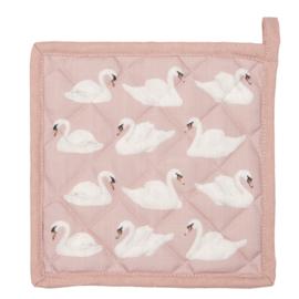 Pannenlap roze met witte zwanen